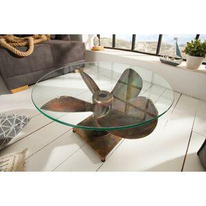 LuxD Dizajnový konferenčný stôl Propeller, 60 cm, medený antik