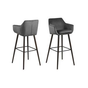 Dkton Dizajnová barová stolička Almond, tmavosivá / tmavohnedá