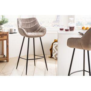 LuxD Dizajnová barová stolička Kiara šampanský zamat
