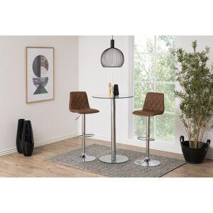 Dkton Dizajnová barová stolička Nashota, svetlo hnedá-chrómová