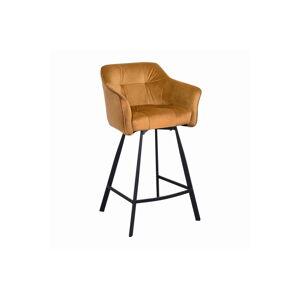 LuxD Dizajnová barová stolička s podrúčkami Giuliana 100 cm horčicový zamat