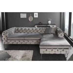 LuxD Dizajnová rohová sedačka Rococo sivý zamat