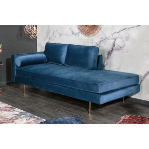 LuxD Dizajnová leňoška Evie 196 cm modrý zamat