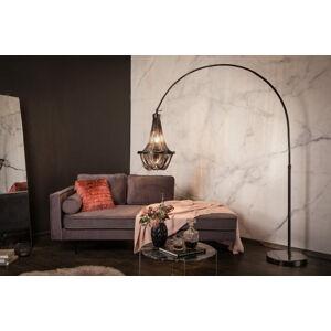LuxD 24900 Dizajnová stojanová lampa Kingdom 170 - 210 cm čierna Stojanové svietidlo