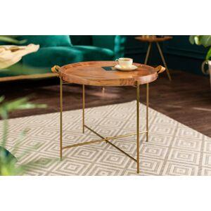 LuxD Dizajnový konferenčný stolík Freddo 55 cm akácia - zlatý