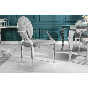 LuxD 20107 Dizajnová stolička Rococo II šedá / s opierkami