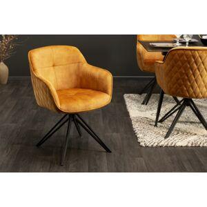 LuxD 23866 Dizajnová stolička Natasha horčicový zamat