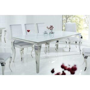 LuxD Jedálenský stôl Rococo 200 cm biela / strieborná