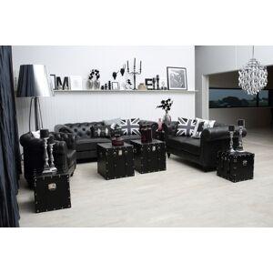 Dkton Luxusná sedačka Ninetta Chesterfield čierna