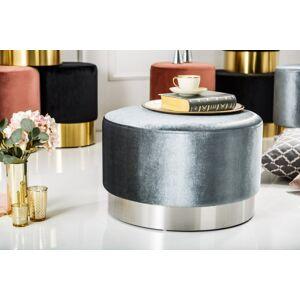 LuxD Dizajnová taburetka Alejandra 55 cm, strieborná