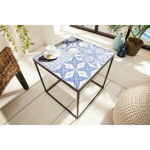 LuxD Dizajnový odkladací stolík Noelle modro-biely