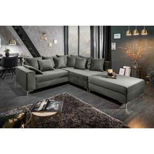 LuxD Rohová sedačka Giuliana, 220 cm, strieborná, s taburetkou