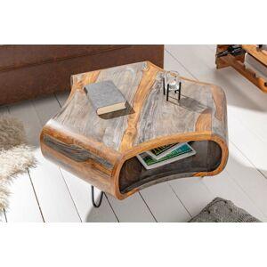 LuxD Dizajnový konferenčný stolík Lorelei, 70 cm, sheesham, sivý