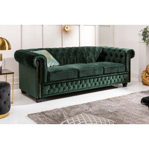 LuxD Dizajnová trojsedačka Chesterfield 205 cm zelená