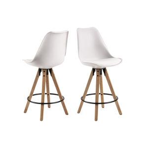 Dkton Moderná dizajnová barová stolička Nascha, biela-prírodná