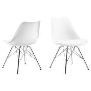 Dkton 23942 Dizajnová stolička Nasia, biele - chróm  - RP