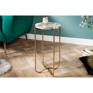 LuxD Odkladací stolík Tristen I 35 cm achát modrý