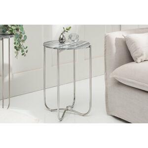 LuxD Odkladací stolík Tristen II 38 cm mramor sivý