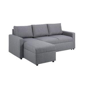 Dkton Rohová rozkladacia sedačka Amadeus, 218 cm, svetlosivá