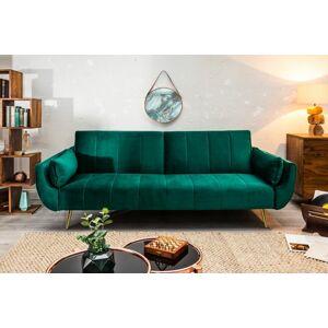 LuxD Rozkladacia sedačka Amiyah 215 cm smaragdovozelený zamat  - RP